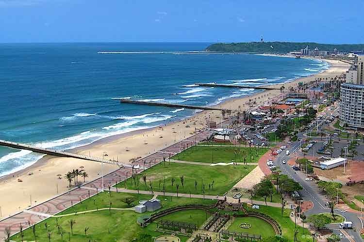 View over the Durban beachfront and the Durban golden mile from above