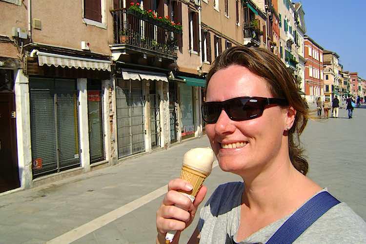 Eating Italian gelato in Venice Italy