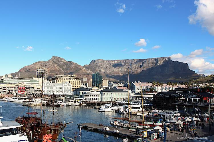 V&A Waterfront in Cape Town overlooking table mountain